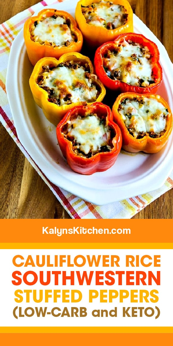 Cauliflower Rice Southwestern Stuffed Peppers Kalyn S Kitchen Recipe In 2020 Stuffed Peppers Cauliflower Rice Healthy Low Carb Dinners