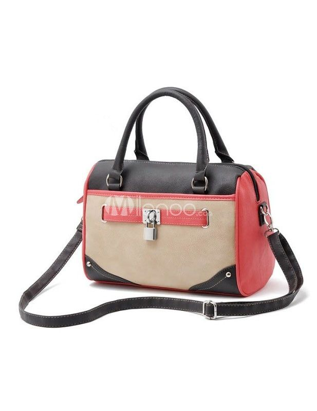 Sweet Split Color PU Leather Women's Tote Bag