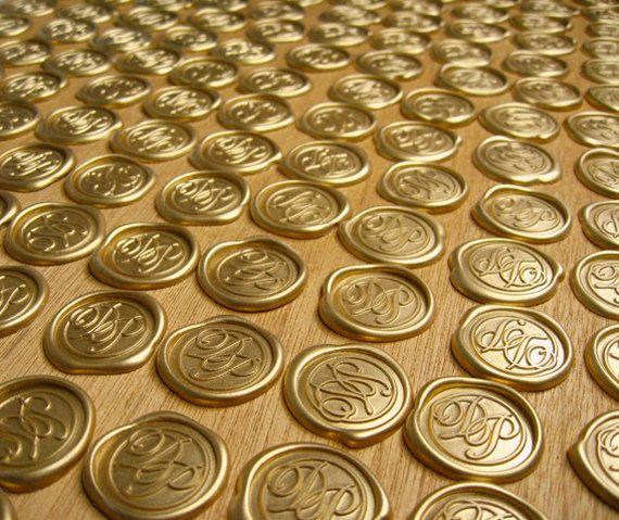 Self Adhesive Wedding Monogram Wax Seal Ornament Set Of 100 For Invitations