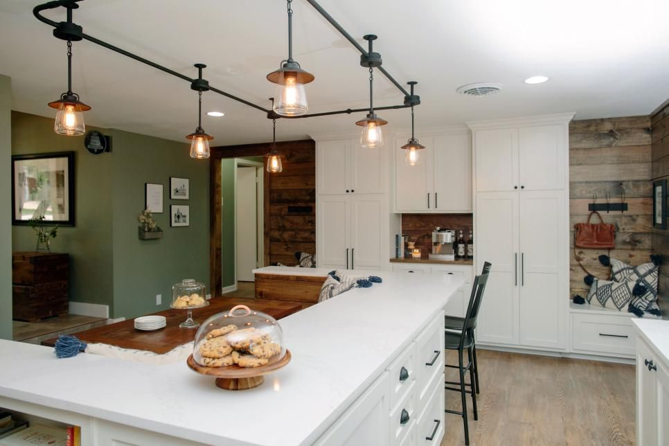 Fixer Upper Midcentury Ranch Gets A New Look With A Farmhouse Feel Industrial Track Lighting Kitchen Lighting Over Table Country Kitchen Lighting