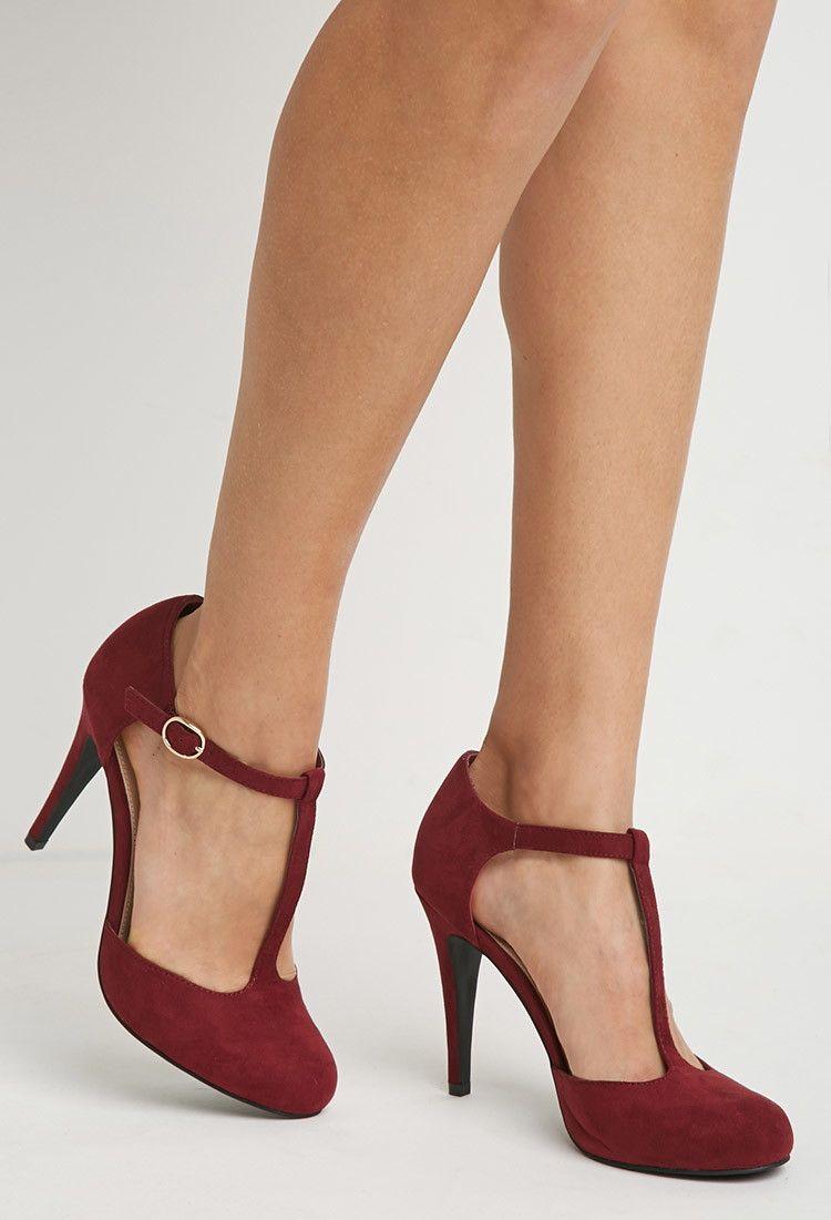 Pumps van imitatiesuède met tbandjes dames schoenen en laarzen