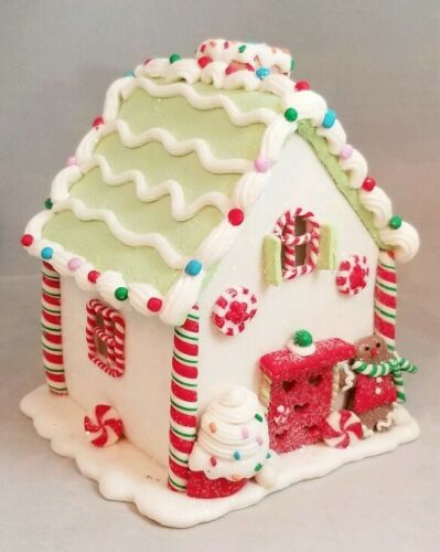 Gingerbread House White Green Cookie LED Light Up Candy