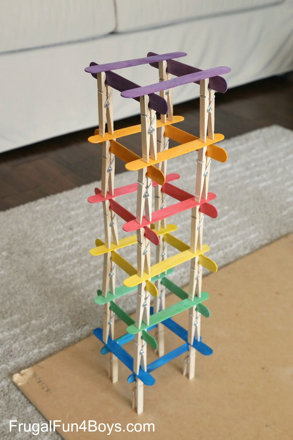 5 Engineering Challenges With Clothespins Binder Clips And Craft Sticks Engineering Challenge Craft Stick Crafts Indoor Activities For Kids