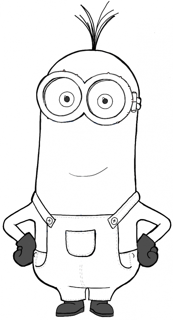 Finished Black and White Drawing of Kevin from the new Minions