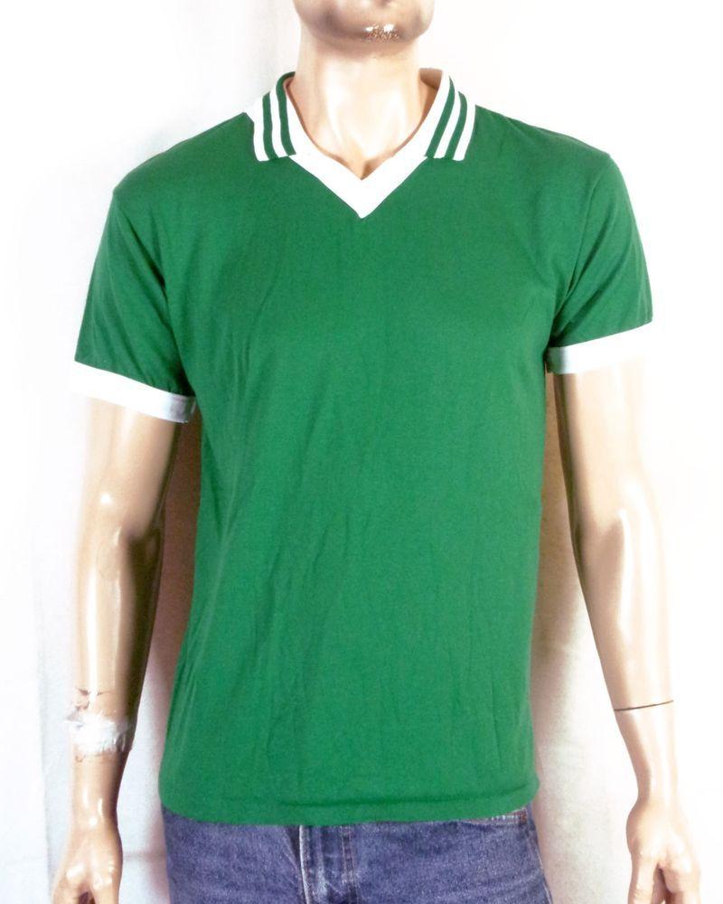 Vtg 80s Soft Thin Don Alleson Athletic Green Collared V Neck Ringer