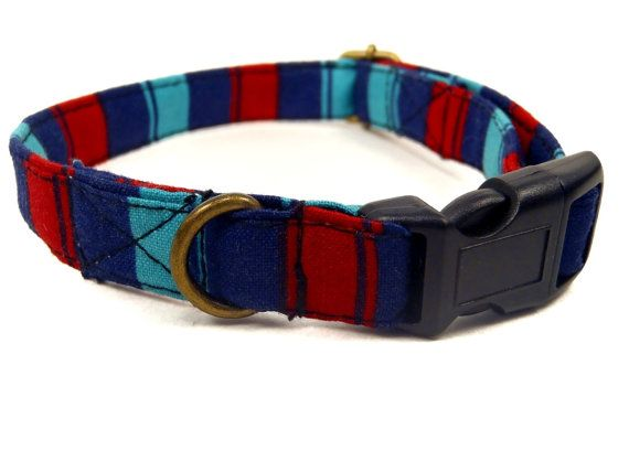 Blue Red Bold Striped Dog Collar  Organic Cotton  by veryvintage