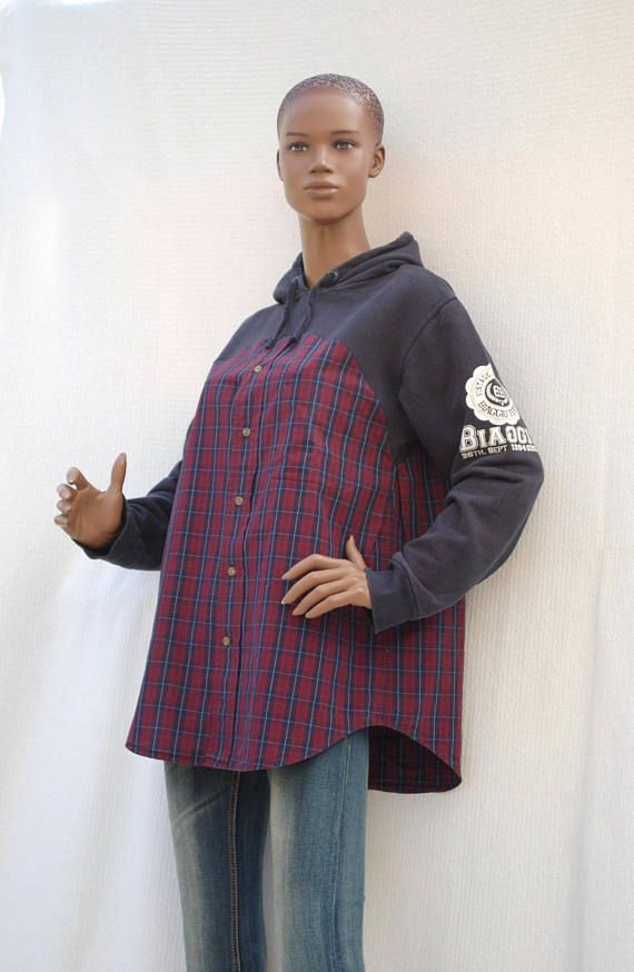 Navy Burgundy - Sweat   plaid shirt, navy hoodie and plaid shirt ... 8c8f682923b