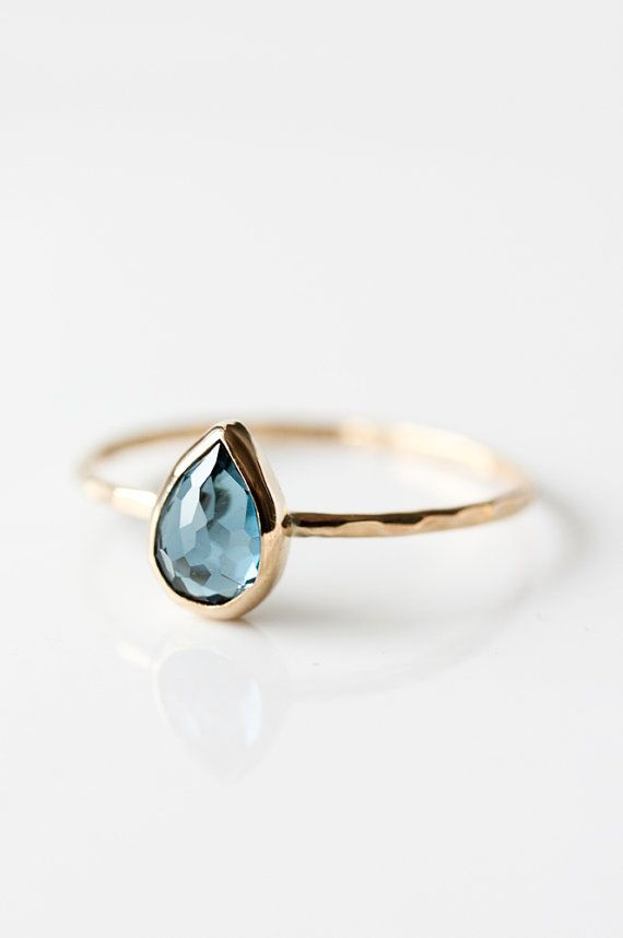 5efa599257 London Blue topaz and 14k gold ring, teardrop, rose cut, pear cut ...