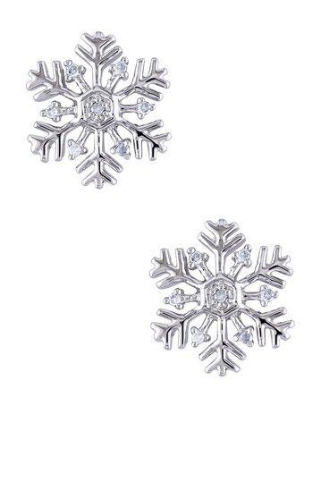 Sterling Silver Diamond Snowflake Ear Pin Earrings - 0.06 ctw