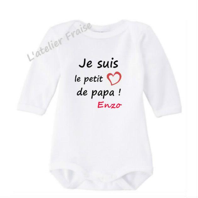 70e828b819f79 Pour les petits ~Body bébé je suis le petit coeur de papa personnalisé avec  prénom -11