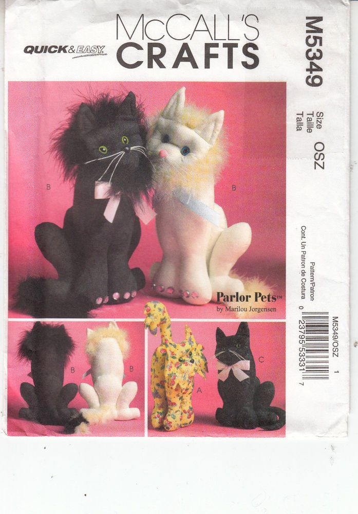Cats Stuffed Sitting Standing McCall's Sewing Pattern 5826 Uncut Two Sizes  #McCalls5349 #cats