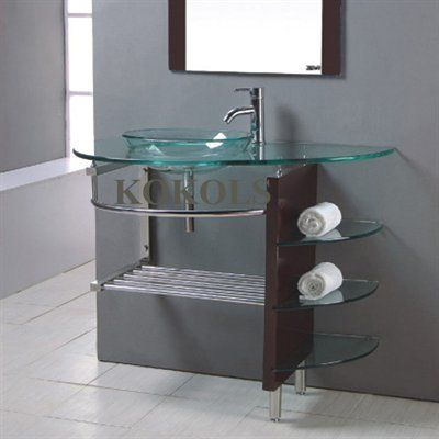 sink and vanity combo. Kokols WF 41 Bathroom Tempered Glass Vessel Sink Vanity Combo With Wood  Stand And
