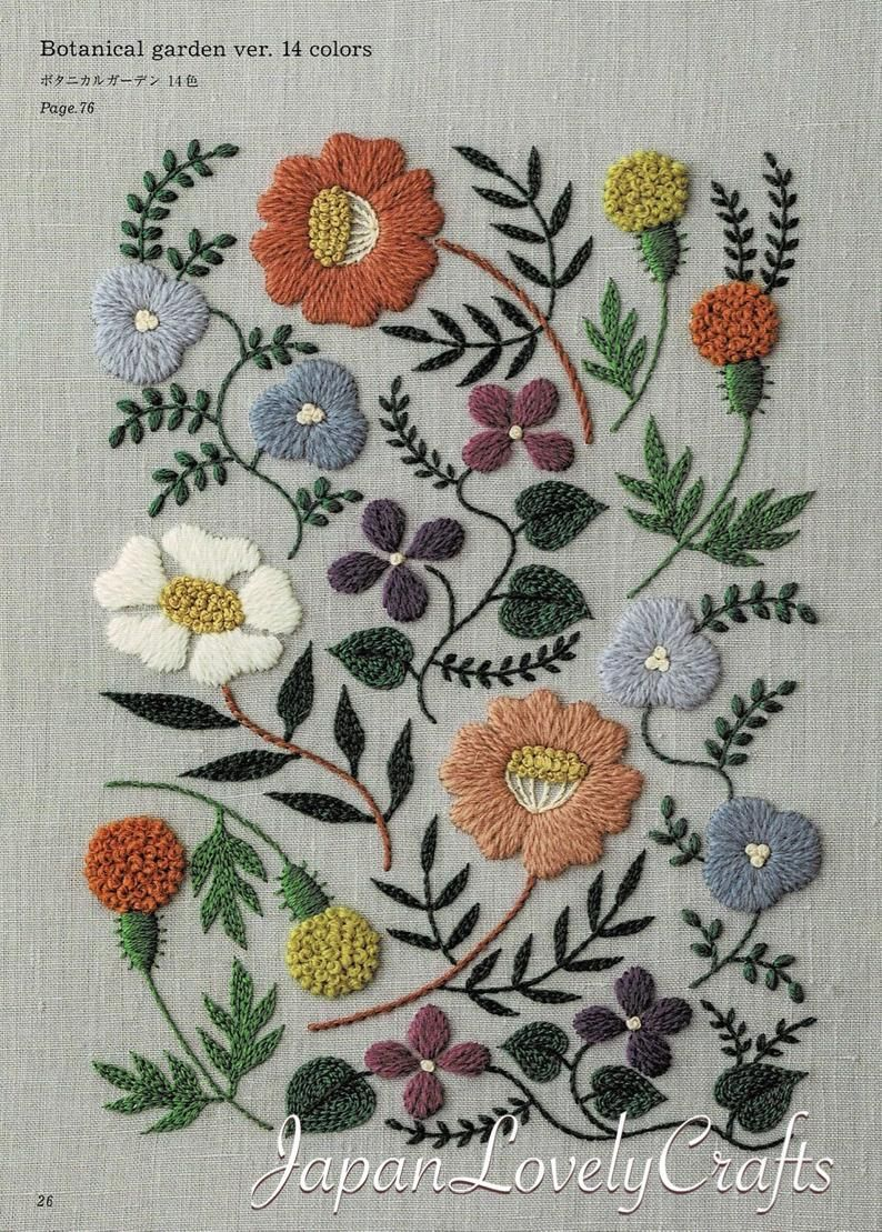 Leaf Stitch Tutorial : stitch, tutorial, Embroidery, Botanical, Patterns,, Embroidered, Flower,, Plant,, Leaf,, Design,, Stitch, Tutorial,, Embroider, Gifts,, Handmade, Decor, Japanese, Embroidery,