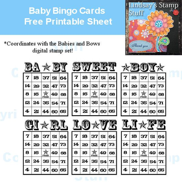 baby bingo cards free printable sheet download