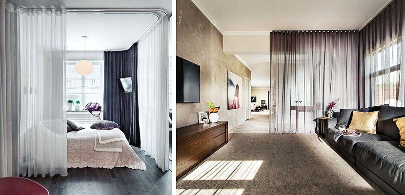 Utiliza cortinas para separar diferentes ambientes en tu - Cortinas para separar ambientes ...