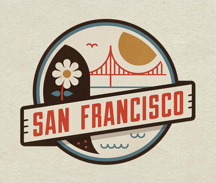 Dribbble San Francisco By Jesus Flat Logo Design Badge Design Logo Design