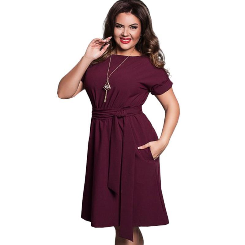 Plus Size Solid Party Dress Women Clothing Summer Style O-neck Bodycon Chiffon  Dress Elegant 3b8e6ee9c6e1