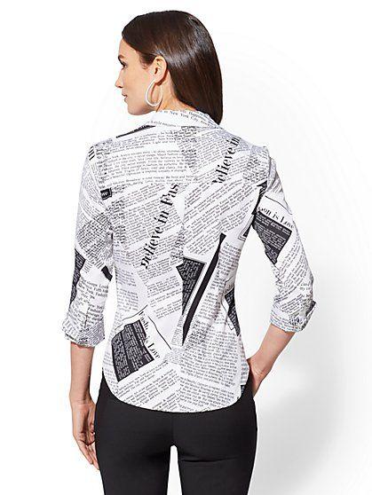 ec20fd059 7th Avenue - Petite Print 3 4-Sleeve Madison Stretch Shirt - New York    Company