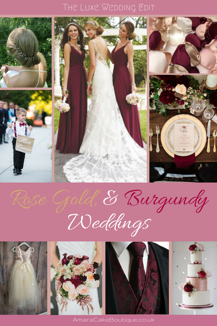 the luxe wedding edit - rose gold & burgundy wedding colour