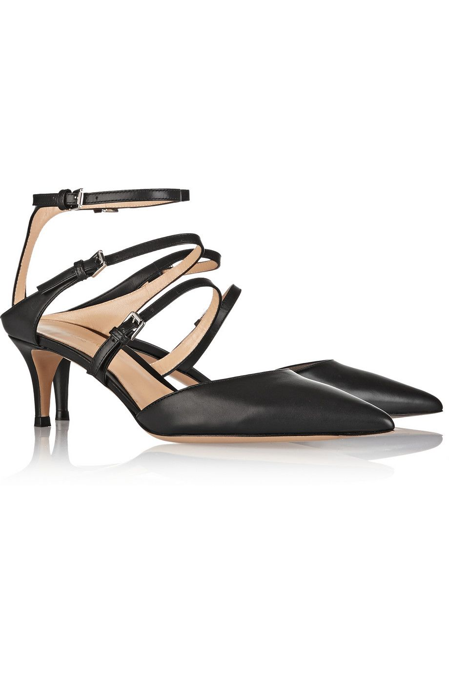 Gianvito Rossi|Leather point-toe pumps|NET-A-PORTER.COM