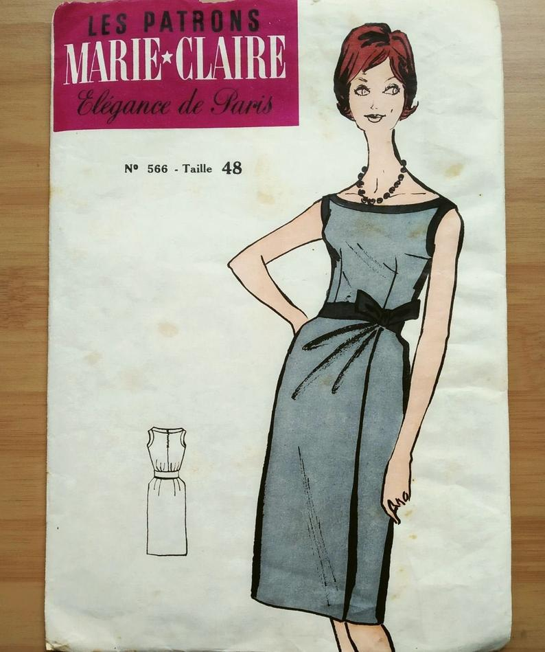 French Vintage Dress Pattern Marie Claire 566 For Bust 41