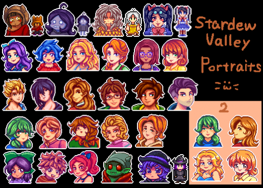 26 character portraits | Resources: Stardew Valley Mods & Help