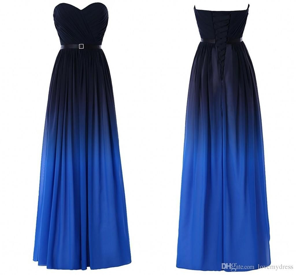 Fashion Gradient Ombre Prom Dresses Sweetheart Black Blue Chiffon New Women Evening Formal Gown