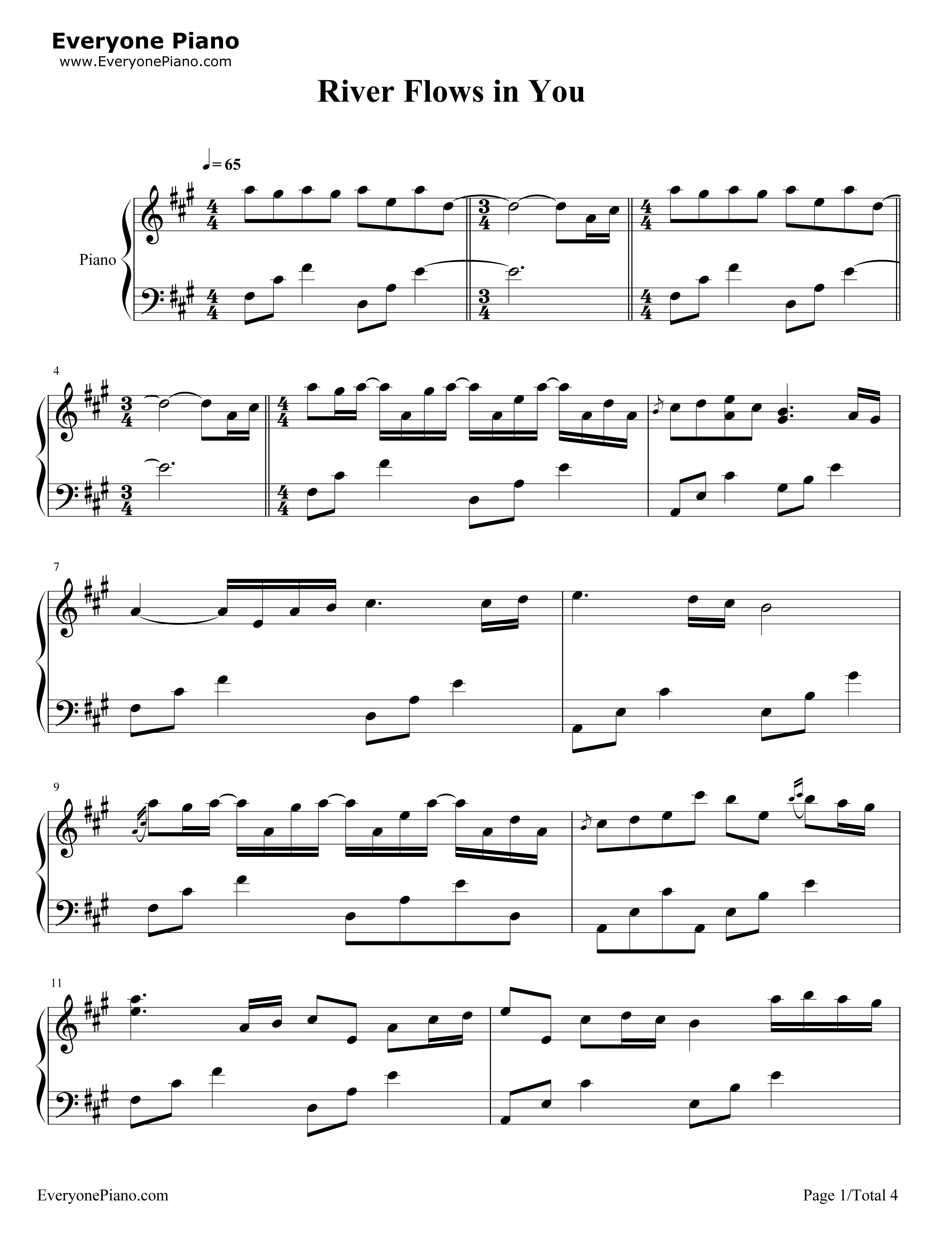 River Flows in You-Yiruma Stave Preview -EOP Online Music Stand in 2020 | River flow in you, Sheet music, Music