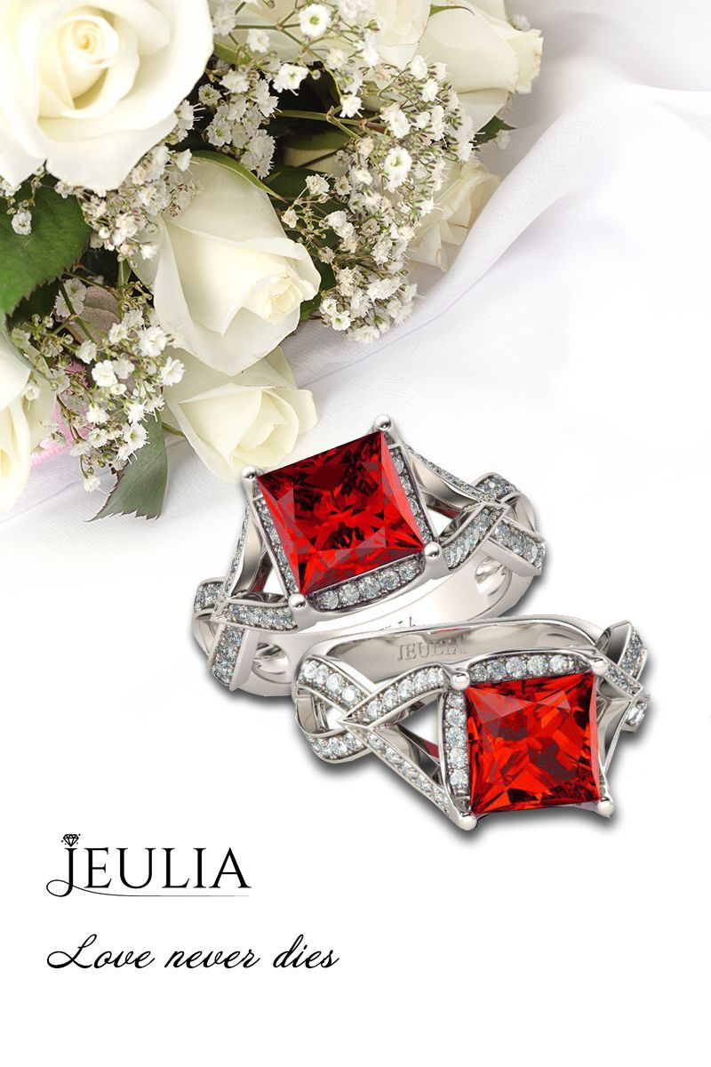 Jeulia halo princess cut created ruby engagement ring jeulia offers
