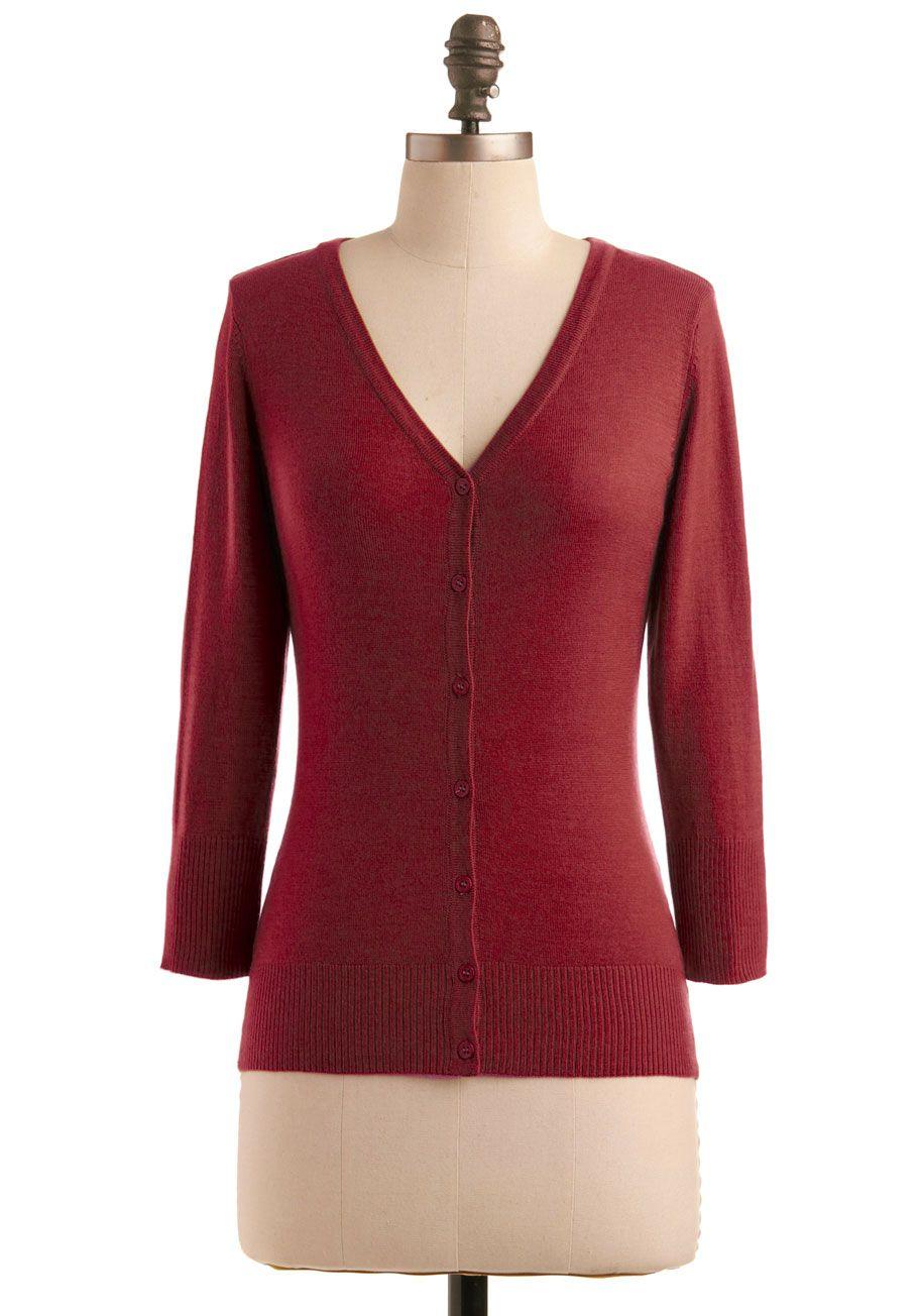 Charter school cardigan in rust red solid sleeve work