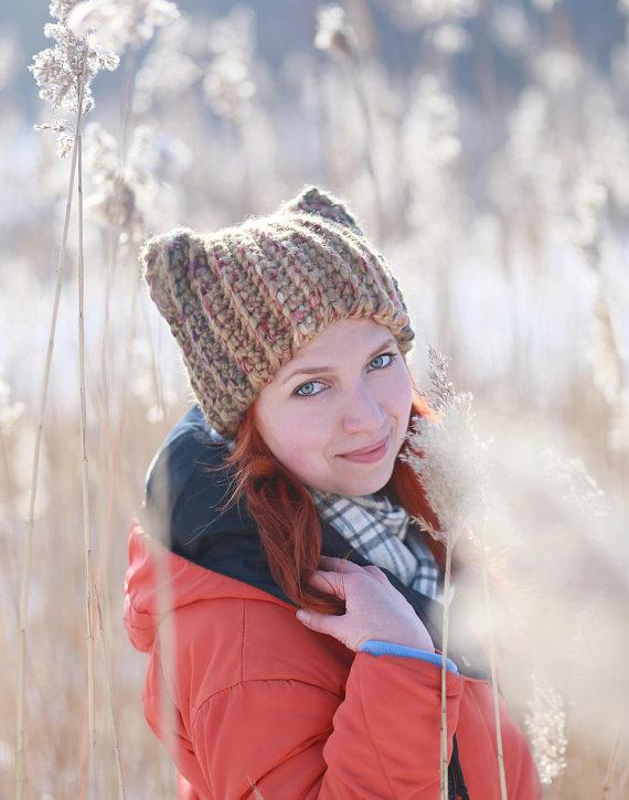 Winter animal hat with ears unisex adult Crochet fox beanie gift idea  chunky dog ear cat costume mos 00ebc887408