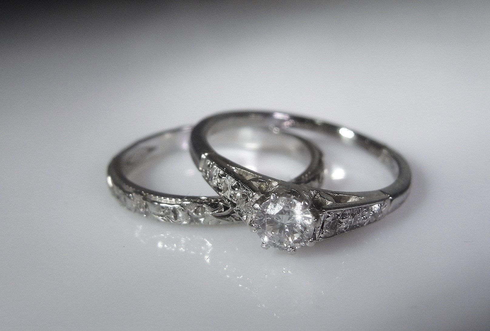 Victorian Platinum & 18K White Gold Bridal Ring Set