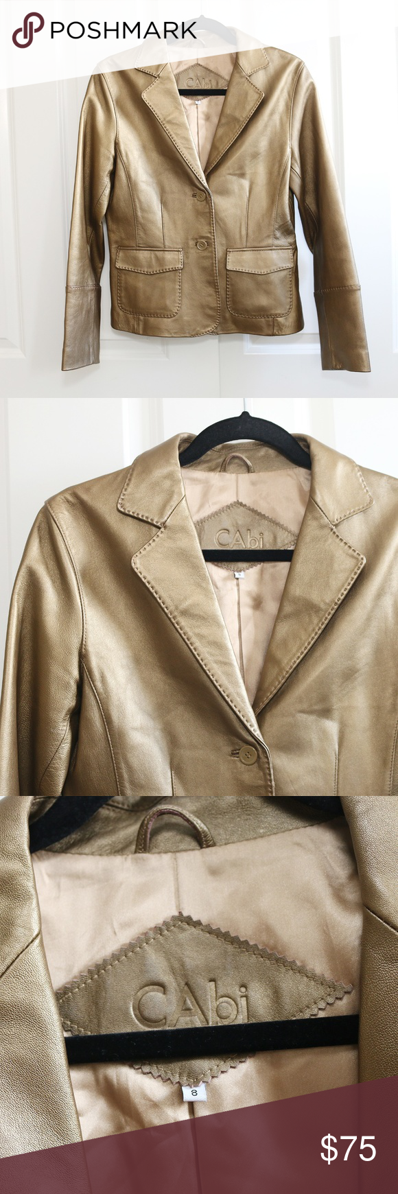 26ac38c1c CAbi Genuine Leather Jacket Gold Bronze Size 8 CAbi - women's 100 ...