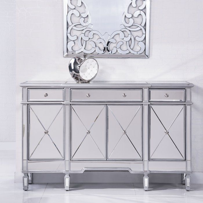 Loic 4 Door Accent Cabinet Reviews Joss Main With Images Mirrored Bedroom Furniture Mirrored Furniture Mirrored Sideboard