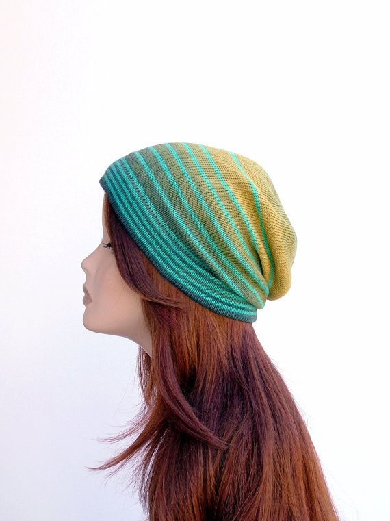 Cotton knit slouchy beanie in ombre green, yellow and turquoise. Lightweight / middleweight hat by rukkola on Etsy. #cottonknitbeanie #slouchybeanie #colorful