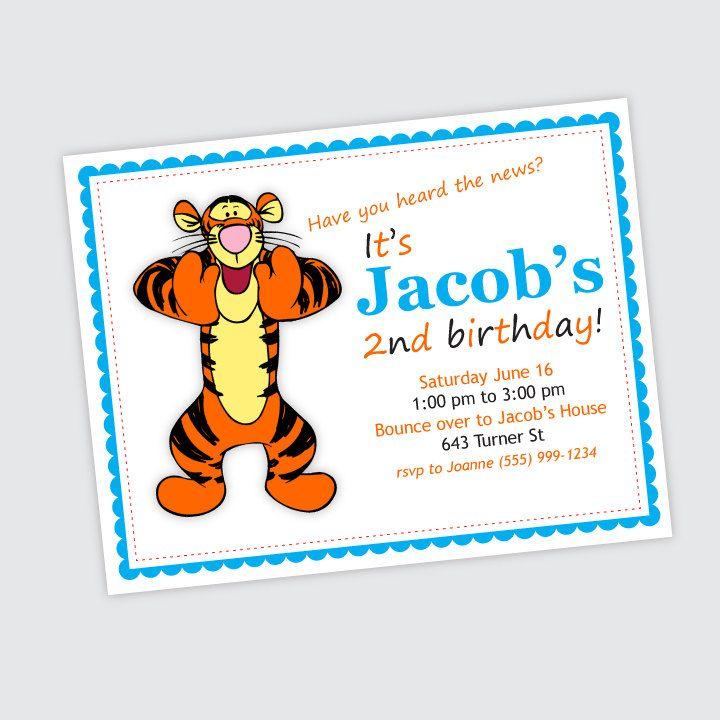Tigger Birthday Party Invitation Boy Or Girl Birthday Card