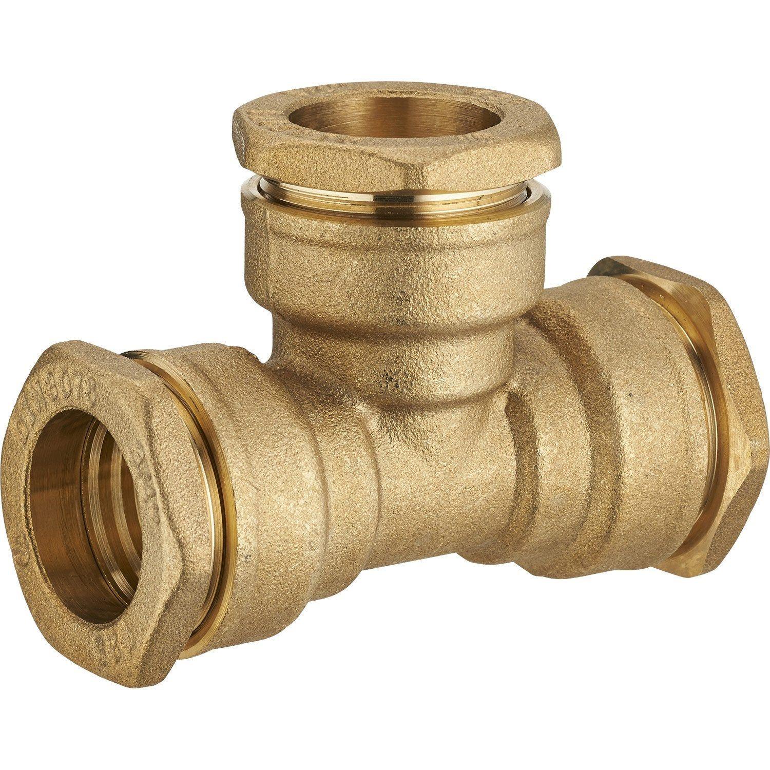 Te A Compression Laiton D 32 Pour Tube En Polyethylene Raccord Laiton Laiton Et Polyethylene