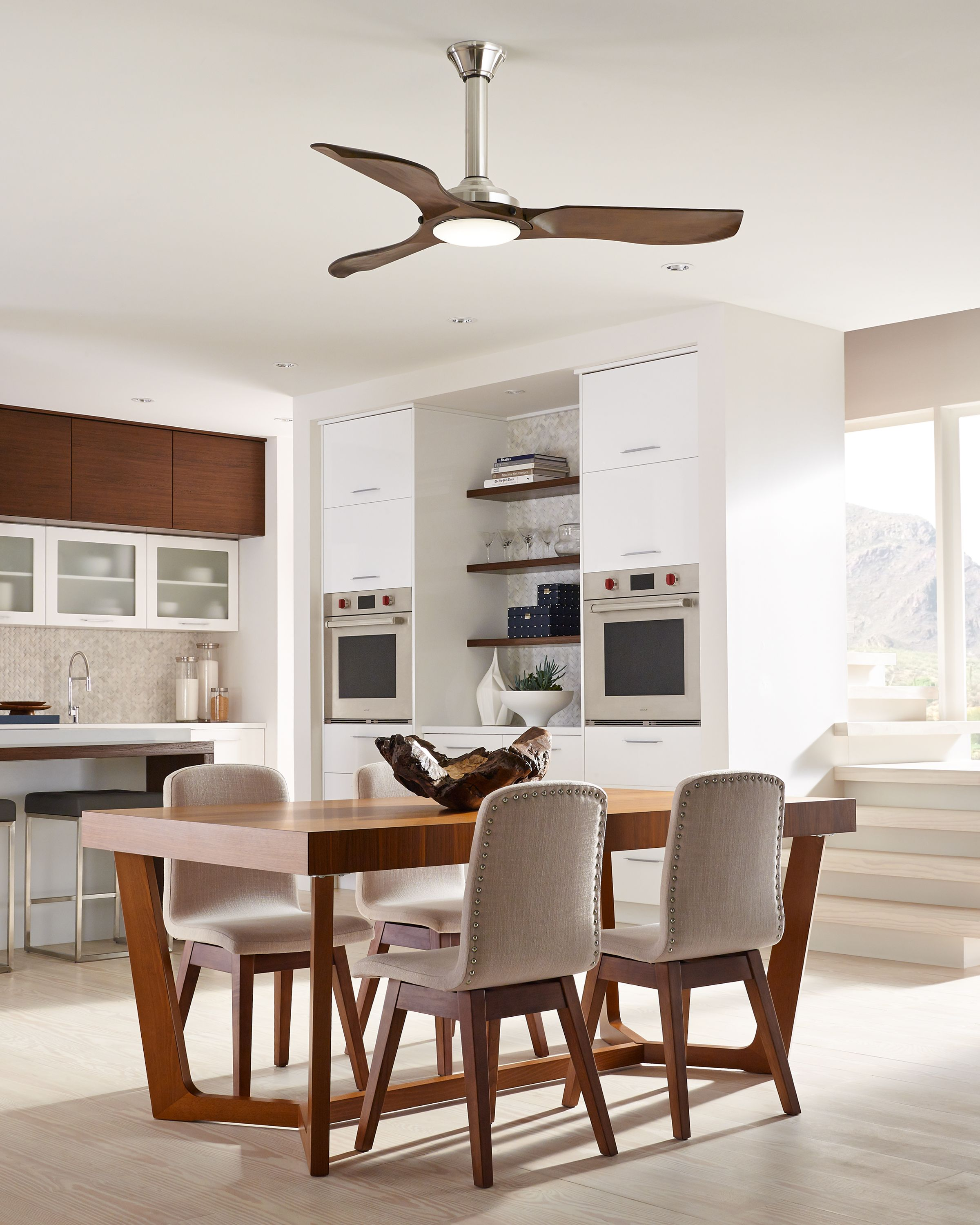 sleek and modern the 56 minimalist ceiling fan by monte carlo has rh pinterest com decorative ceiling fans for dining room modern ceiling fans for dining room