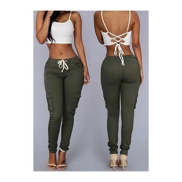 833d51717de68 Rotita Mid Waist Pocket Design Army Green Pants ( 25) ❤ liked on Polyvore  featuring pants