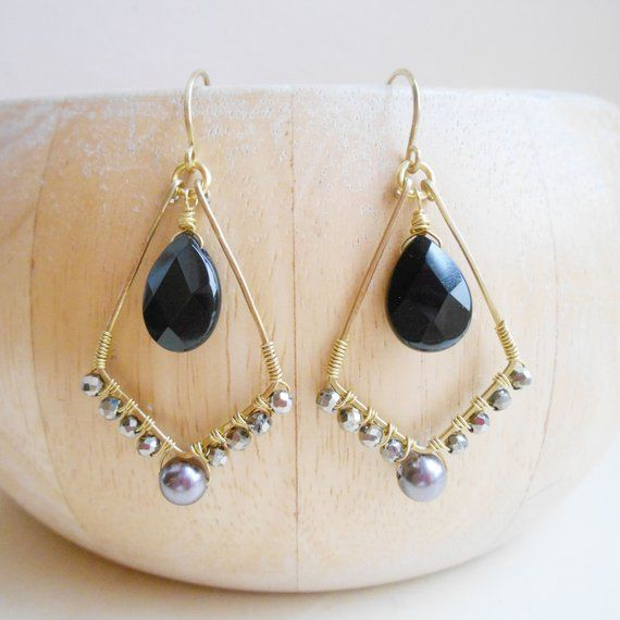 Photo of Aurelie gray black gemstone beaded hoop earrings diamond kite wire wrap dangle drop onyx pyrite pearl gold fill August birthstone fall gift