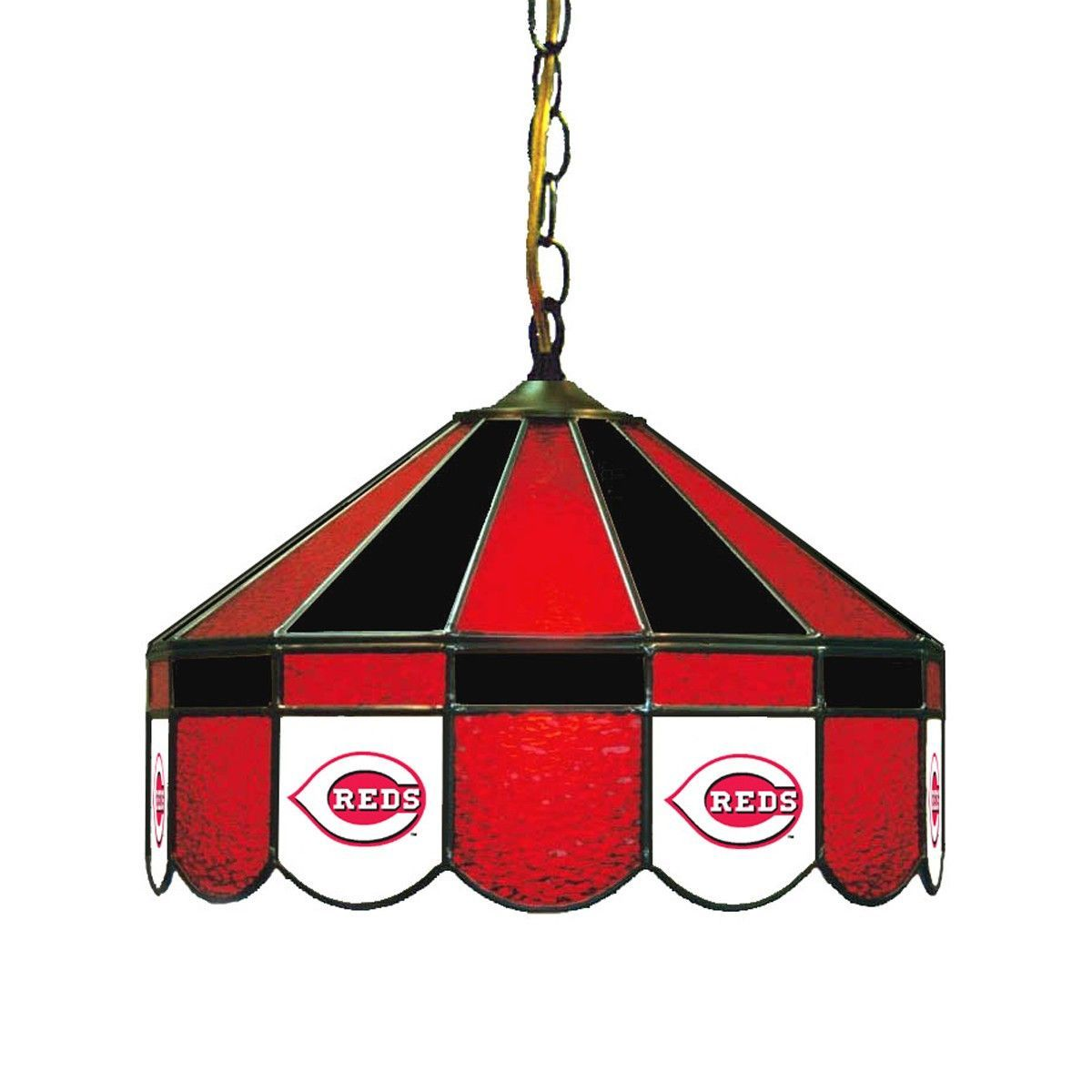 "16"" Stained Glass Lamp - Cincinnati Reds Fan Cave Lighting"
