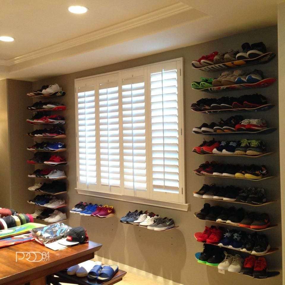 A shoewall, made out of skateboards. Love it!