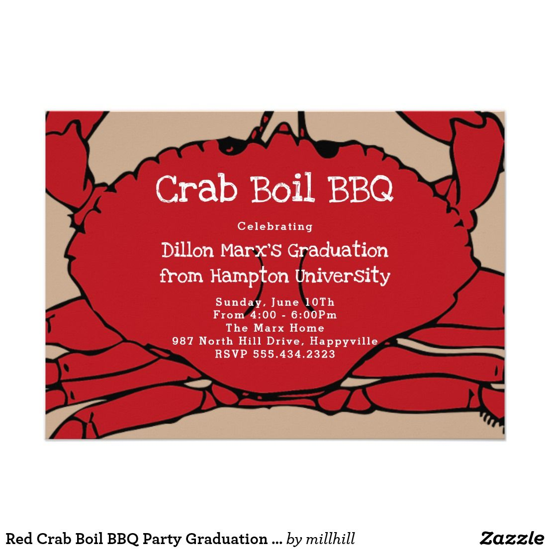 Red Crab Boil BBQ Party Graduation Invitation | Party invitation ...