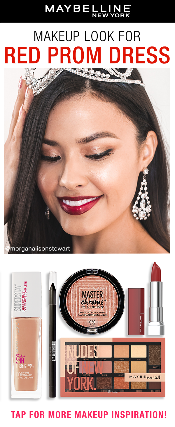 Prom Makeup For Red Dress Black Dress Prom Makeup Prom Makeup Red Dress Makeup [ 1461 x 600 Pixel ]