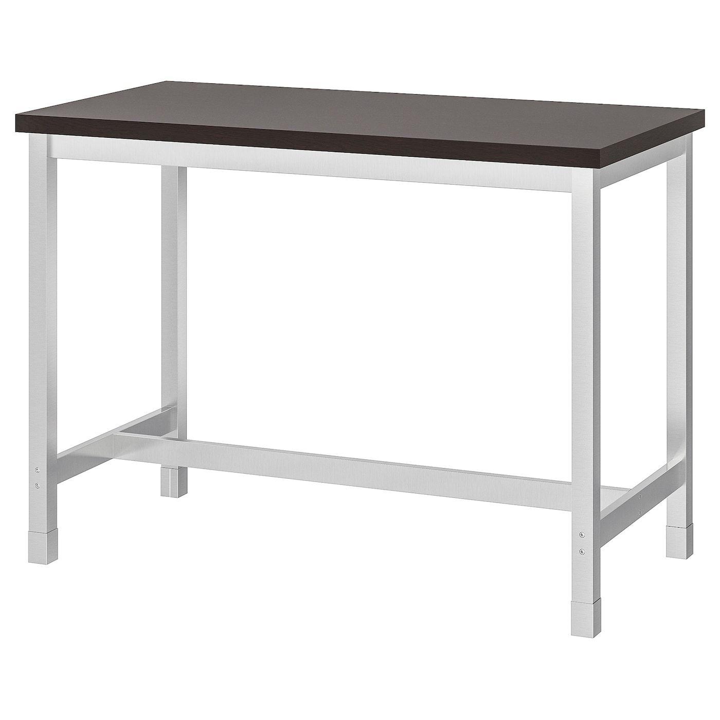 Utby Table De Bar Brun Noir Acier Inoxydable Ikea Suisse In 2020 Stehtisch Ikea Bartisch Ikea Tisch