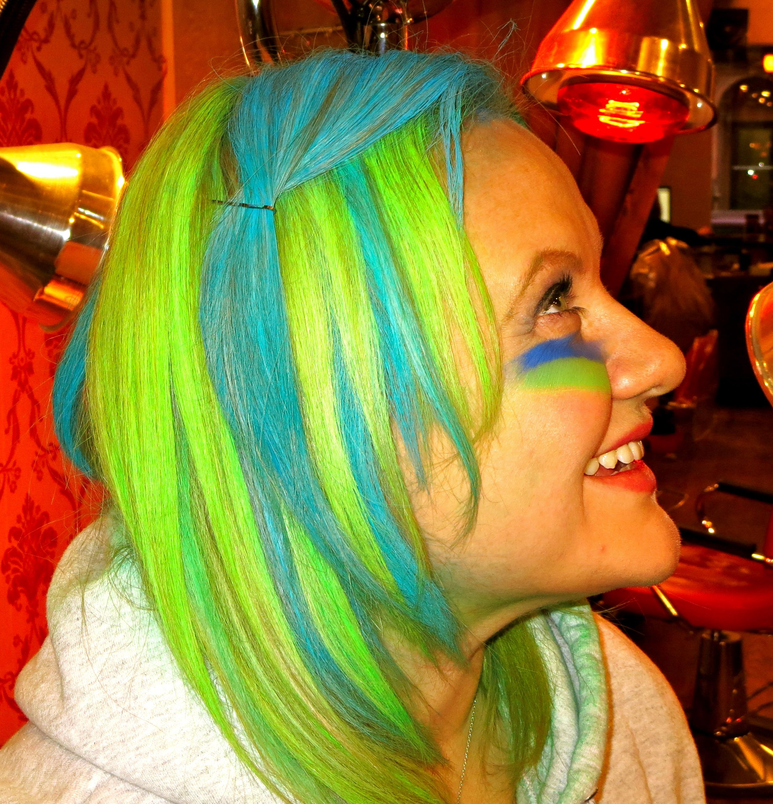 Hair color chalking done in Seattle Seahawks colors at Salon V in ...