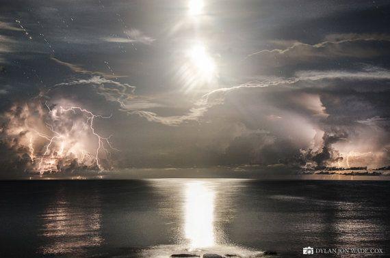 Beautiful World  -Lighting storm of the shore of Lido Beach - Sarasota Lightning Storm Landscape Nature Art Photography Weather Bridge