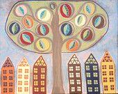 Kerri Ambrosino Original Art Tree of Life 16x20 Mexican Folk Art Saltbox Houses Leaves