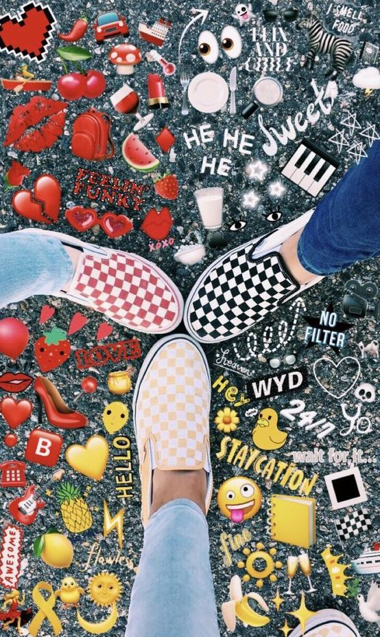 Matching Vans, red, yellow and black   best friend edit goals  Share with your friends  noruleshere com cool fun emoji art ideas beauty fashion style photography life is part of Emoji pictures -