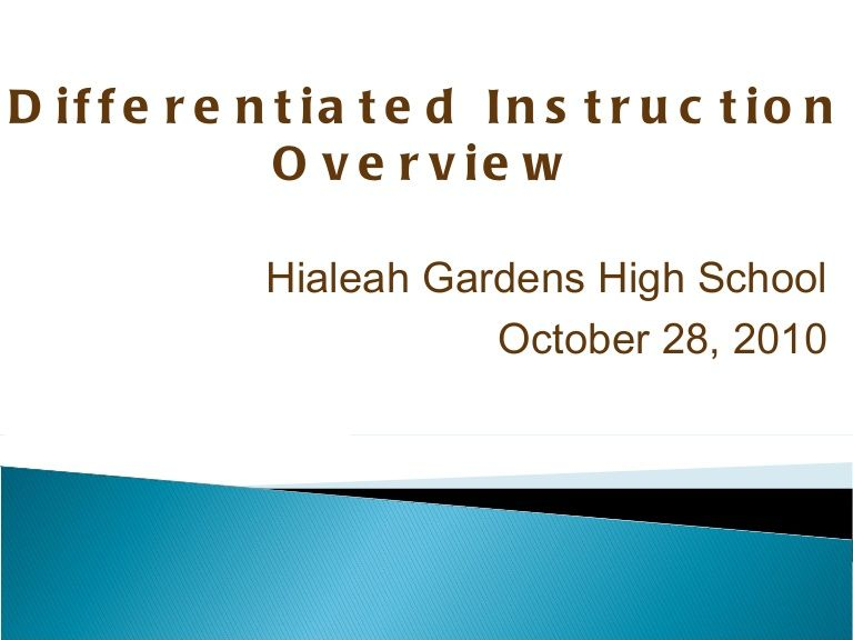 Differentiated Instruction In The Math Classroom By Hialeah Gardens